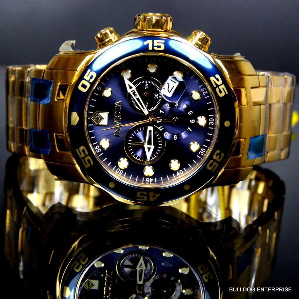 Invicta Pro Diver Scuba Gold Plated Steel Chronograph Blue Swiss Parts Watch New