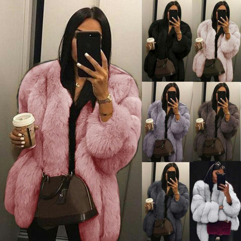 Womens Plus Size Short Faux Fur Coat Warm Furry Jacket Long