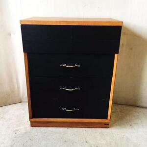 Retro Mid Century Black Colour-Blocked Tallboy with Dovetailed Drawers