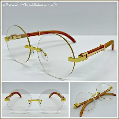 Herren Klassisch Elegant Luxus Designer Mode Klar Gläser Brillen Randlos Rahmen