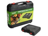 NEW UNUSED Portable Camping Gas Cooker Stove Single Burner & Carry Case with 4 Butane Cannisters