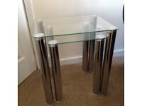 Set of 4 Glass Tables - 2 x side tables (nest), 1 x TV / DVD table and 1 x coffee table