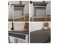 Vintage Up-cycled Shabby Chic Ivory & Grey Hall Console Table NEW upcycled