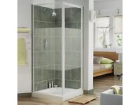 AQUA 3 Pivot Shower Door and Side Panel 900mm x 900mm White Frame Stripe Glass