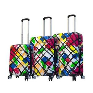 "Mia Viaggi Pop Brush 3 Piece Hardside Spinner Upright Luggage Set - 20"", 24"" & 28"""