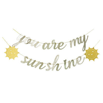 You Are My Sunshine Gold Glitter Banner Bunting Party Decorations - Bunting Decorations