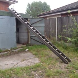 Wood ladder with Aluminium Rungs 2 section x 18 rungs
