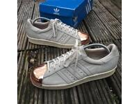 Adidas rose gold metal toe trainers size 7