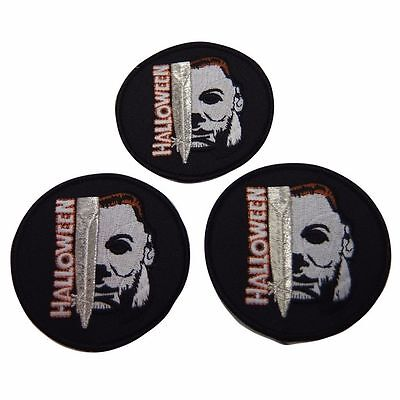 Halloween Movie Michael Myers Face and Knife Name Embroidered Patch Set of 3