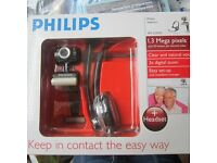 PHILIPS webcam 1.3 Mega pixels and headset - like new