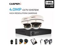 CASPERi CCTV SECURITY SYSTEM with 4.0MP 1440P 2x DOME CAMERAS, 4.0MP 4CH HDMI DVR and 1TB HardDrive