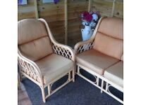 Cane furniture.Two seater sofa and armchair