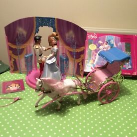 Disney horse and carriages Cinderella Prince Charming doll, Disney Princess cd, playstand