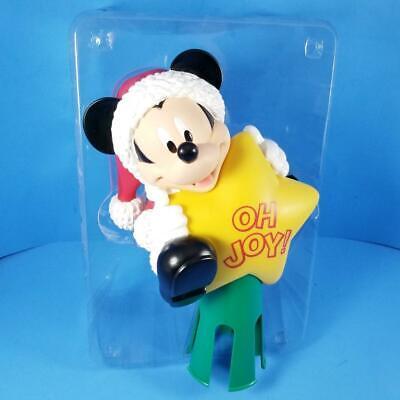 "Disney Mickey Mouse Christmas Tree Topper 11"" Santa OH JOY Star Vintage Enesco"