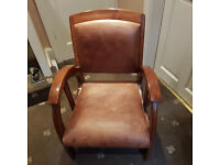 2x antique art deco club chairs