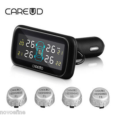 Car Auto Wireless TPMS Tire Tyre Pressure Monitoring System+4 External Sensors
