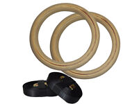 Wooden Gymnastic Olympic Crossfit Gym Rings Strength Training Adjustable Pair