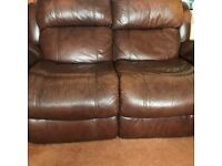 brown leather 2 seater recliner sofa & 2 armchairs collect from hucknall