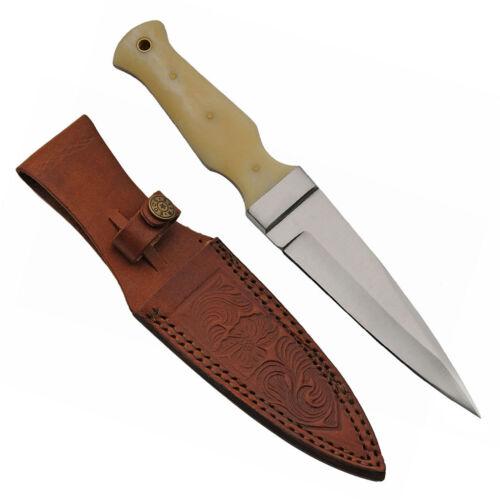 """Bone Handle Sgian Dubh Boot Knife 9"""" NEW Stainless Steel Dagger Boline Knife"""