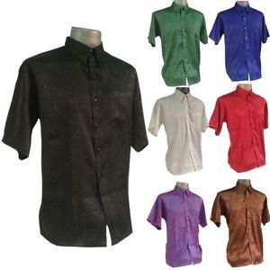 New mens jacquard thai silk shirts casual button down for Men s batik bay silk blend button down shirt