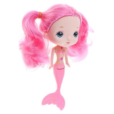 17cm Rosa Kleid Kleine Meerjungfrau Mädchen Puppe mit Rosa Haarperücke (Kleine Meerjungfrau Perücken)