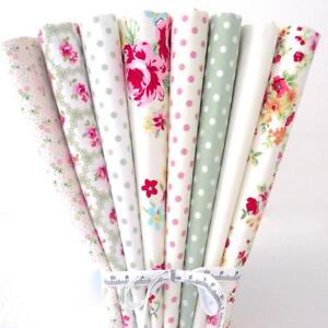 8 X FQ BUNDLE - SWEETIE CREAM - 100% COTTON FABRIC STRIPE ROSE dots PATCHWORK