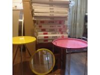 JOB LOT of assorted SIDE TABLES, and SERVING TABLES & MIRRORS