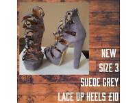 New Suede Grey Lace Up Heels Size 3