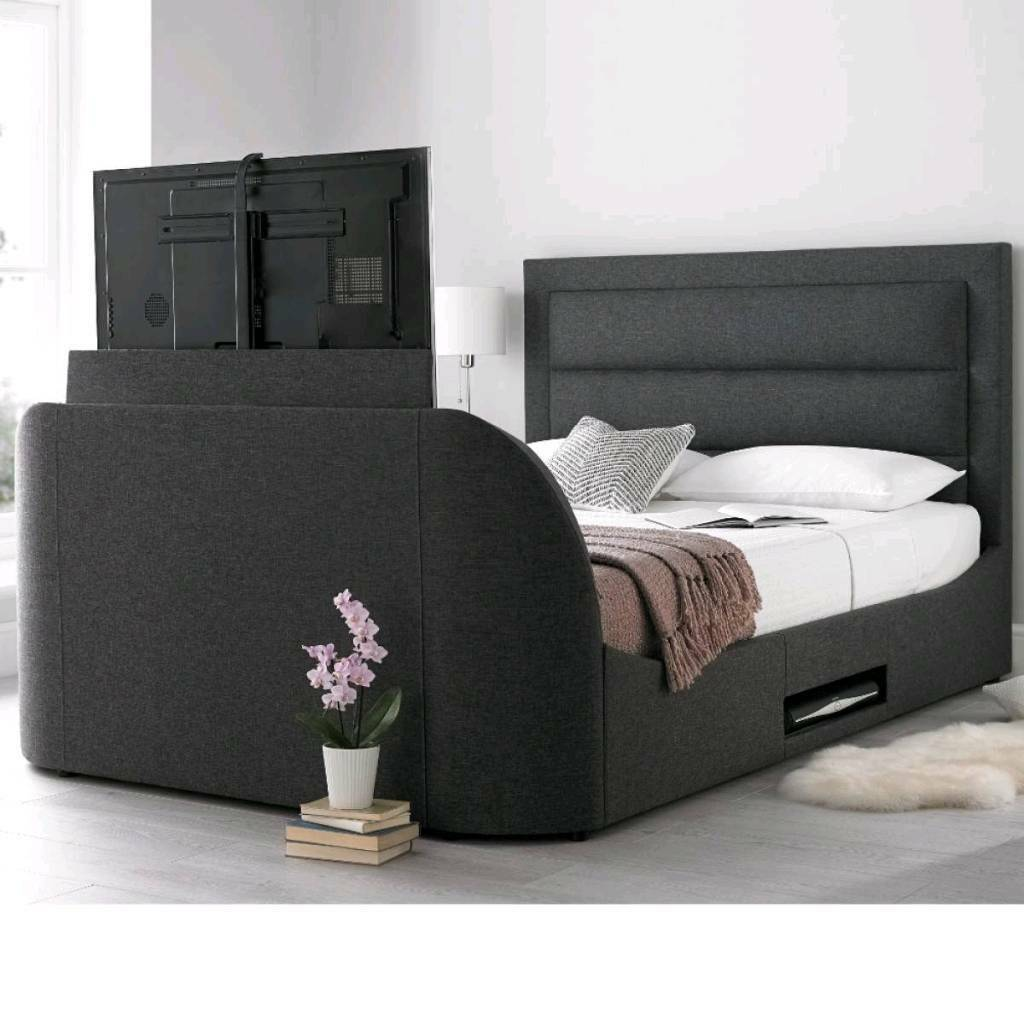Hollywood Super King Tv Bed Tv Included In Grey In Topsham