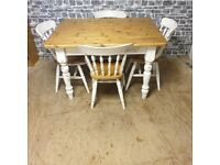 Pine Dining Table with 4 Spindle Back Chairs