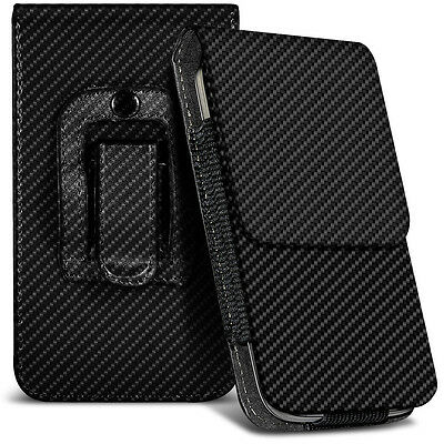 Black Carbon Fiber Belt Clip Holster Case For Huawei U8300 - 8300 Carbon Fiber
