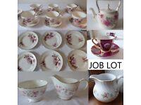 Job Lot vintage china. Complete tea set. Teapot. Jugs. Sugar bowl. All in price.