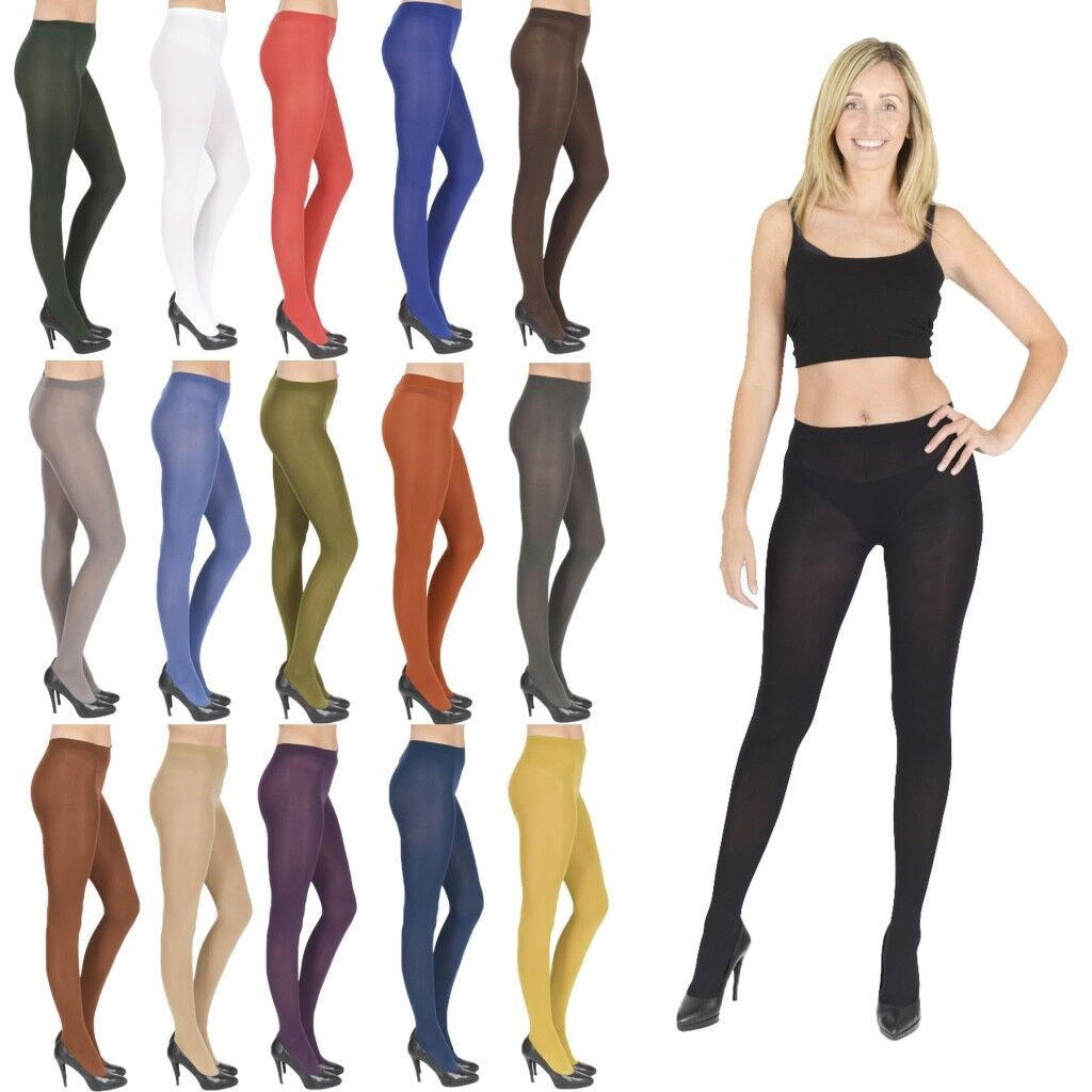 Womens Opaque Tights 40  100 Denier Plus Size Black Nude White V1  Ebay-1880