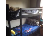 V. Good, solid, dark brown Ikea bunk beds & 1 mattress £75 Ono