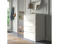 IKEA malm white four drawer dresser chest of drawers