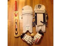 Cricket set, Fernley youth pads, slazenger adult gloves, bat & ball