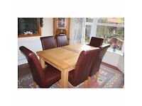 Oakcraft Oak Dining Table and Set of Eight Oak Leatherette Chairs with Oak Dresser Dining Set