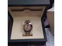 Complete box set two tone bracelet with silver face rolex daytona with sweeping automatic movement