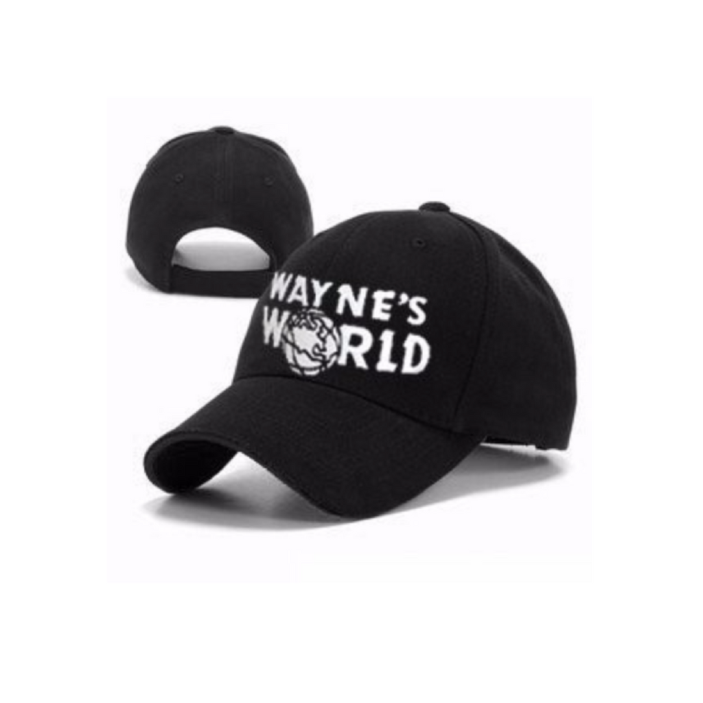 8f9892abc5f Details about Wayne s World Baseball Cap Black Embroidered Hat New Party  Movie Costume Cosplay