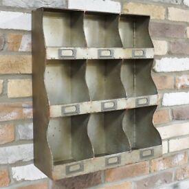 Retro Industrial Vintage Cupboard Cabinet 9 Pigeon Hole Wall Storage Shelf Unit
