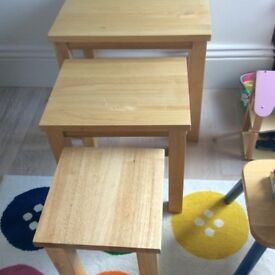 Three wooden tables