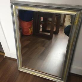 Mirror with silver and glitter frame