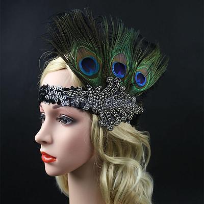 Damen Pfau Federn Stirnband Kopfschmuck Federstirnband Kostüm