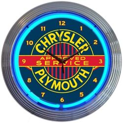Chrysler Plymouth Licensed Neon Clock 15x15 8CRYPL
