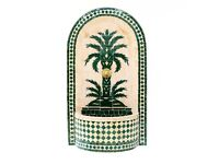 Palm Tree Outdoor Fountain, Green Moroccan Garden Mosaic Fountains 110 H 64cm L