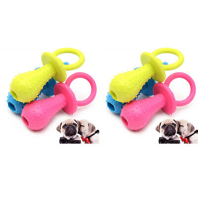 6xBite Resistant Bell Rubber Pacifier Pet Dog Puppy Molar Chew Training Toys