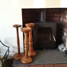 Chunky solid wooden candlesticks floor standing large