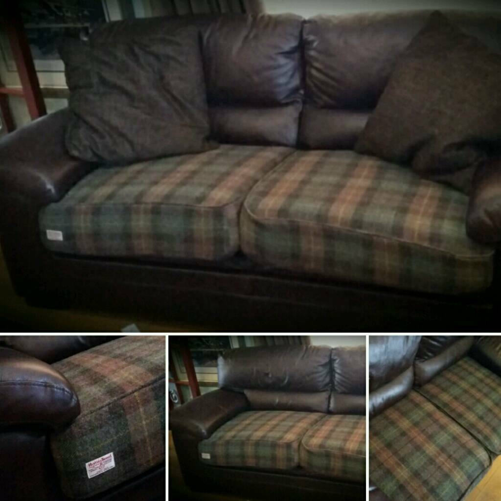 Leather And Harris Tweed Sofa