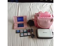 LOOK PINK NINTENDO DS LITE IN MINT CONDITION WITH CARRY BAG CHARGER GAMES CARD AND 7 GAMES