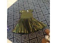 Metallic green dress ,pleated from waist , worn once